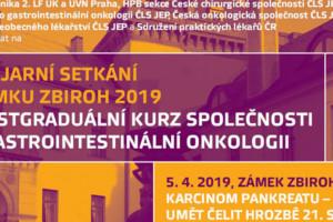 Karcinom pankreatu – budeme umět čelit hrozbě 21. století? XXVIII. pracovní setkání na zámku Zbiroh 2019, 15. postgraduální kurz společnosti pro gastrointestinální onkologii